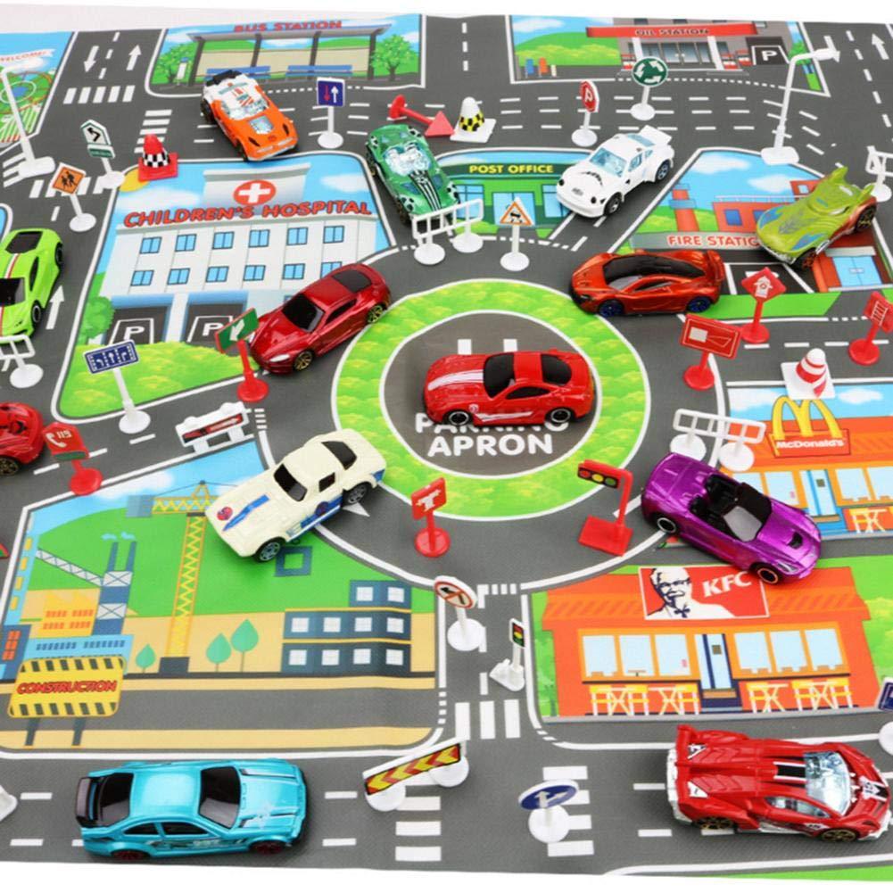 Waroomss Juguete para Ni/ños Mapa De Estacionamiento De La Ciudad del Autom/óvil Versi/ón En Ingl/és Mapa De Estacionamiento De La Ciudad Toy Car Map