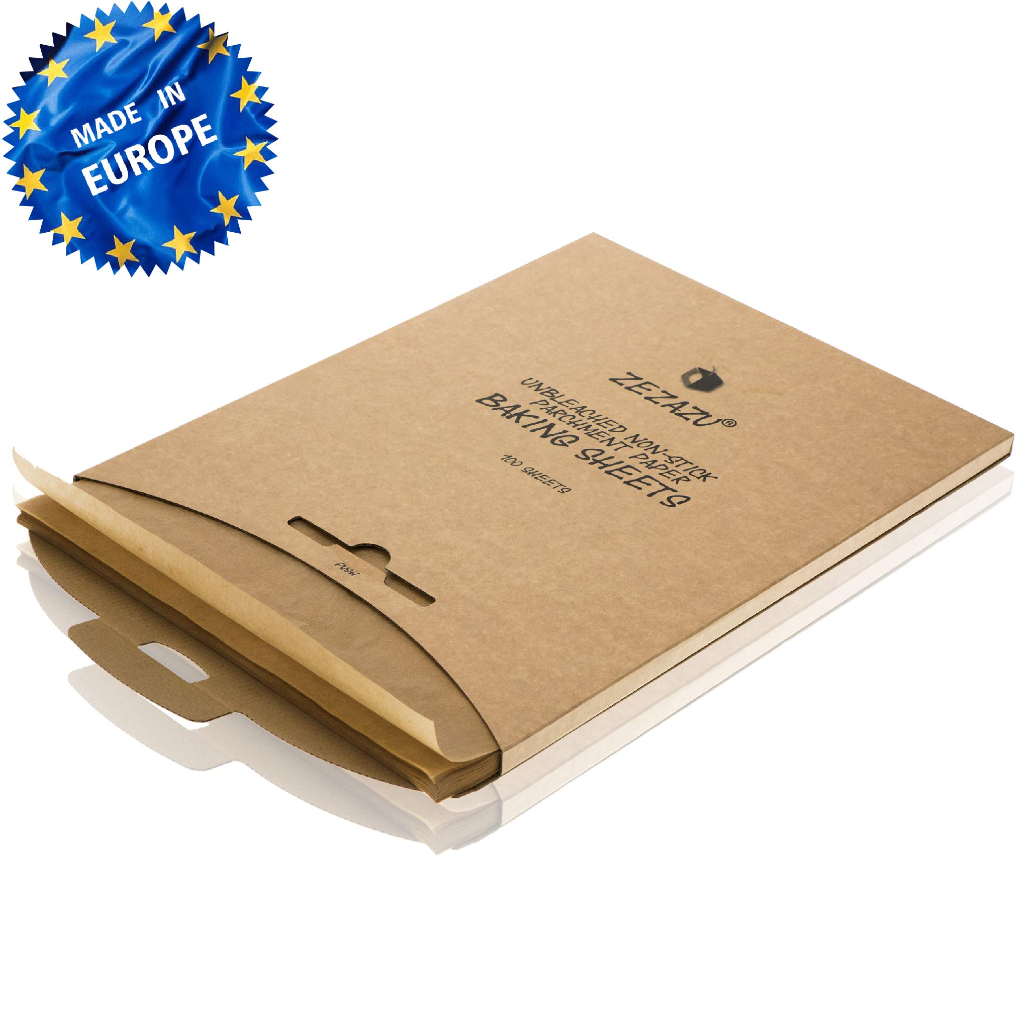 ZeZaZu Parchment Paper Sheets for Baking - MADE IN EUROPE - Precut 12x16 inch (100 Sheets) -RECLOSABLE PACK- Exact Fit for Half-Sheet Baking Pans, Unbleached, Non-stick, Dual-Sided Siliconized Coating by ZEZAZU