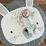 Abreeze Kids Nursery Rug Bunny Shaped Play Mat Round Carpet Cartoon Rabbit Design Home Room Decor 35X37 inches,Grey