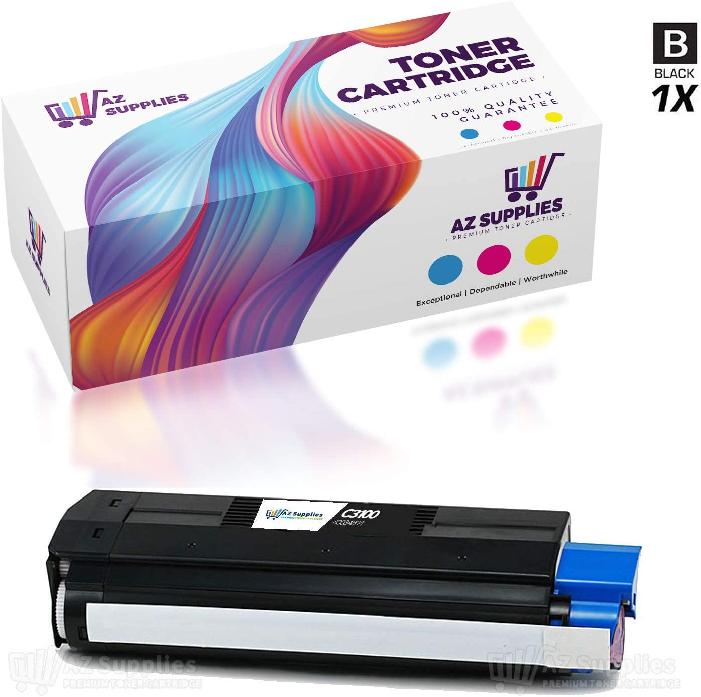 Works with: C3100 C3200N C3100N Black On-Site Laser Compatible Toner Replacement for Oki-Okidata 43034804 C3200