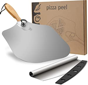 "Pizza Peel Set, SXTWBK 12"" x 14"" Aluminum Metal Pizza Paddle with 11.6"" Foldable Wood Handle and 13.75"" Pizza Cutter with Cover, Easy Storage Pizza Spatula for Baking and Slicing Homemade Pizza Bread"
