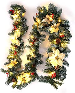 Warmiehomy Christmas Garland with Lights 2.7M Fireplace Stair Decoration Illuminated Wreath with 50 LED Lights Pine Cones Flowers Decor for Xmas Festival Tree Display (Yellow Flower)