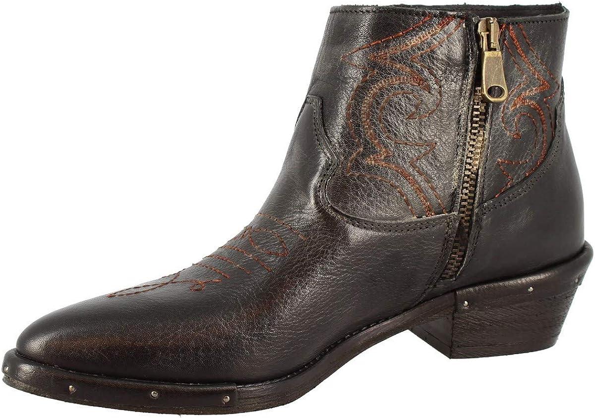 Leonardo Shoes Stivaletti Texani a Punta da Donna Fatti a Mano in Pelle di Vitello Nera Cerniera Laterale - Codice Modello: RCA64F Stone Muffa Nero Nero