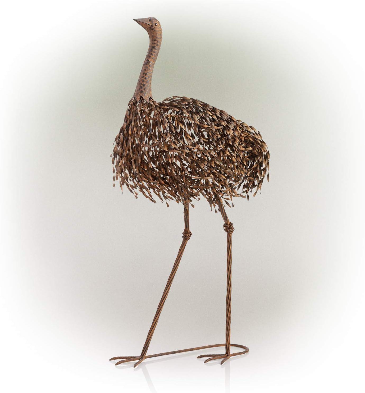 Medium Tall Recycled Metal Ostrich Planter