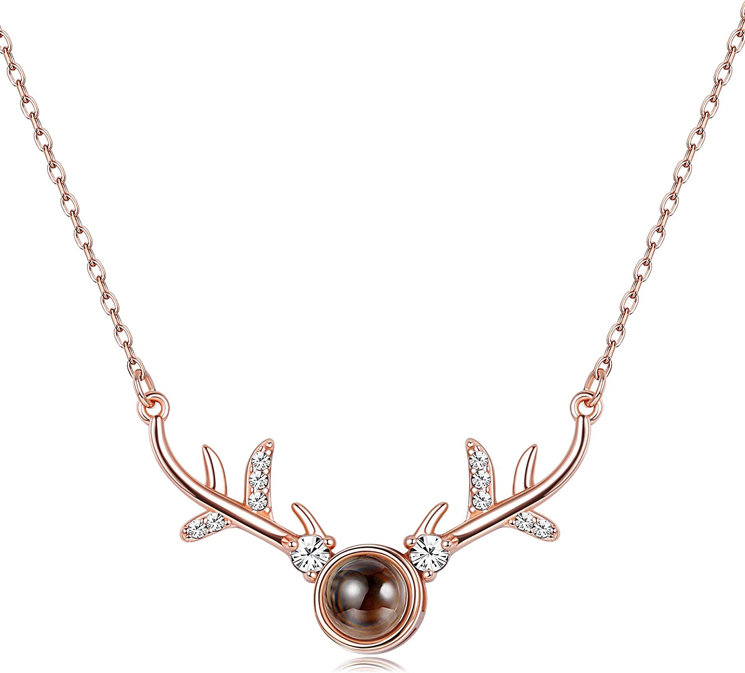100 Languages I Love You Projection 925 Sterling Silver Antler Pendant Necklace