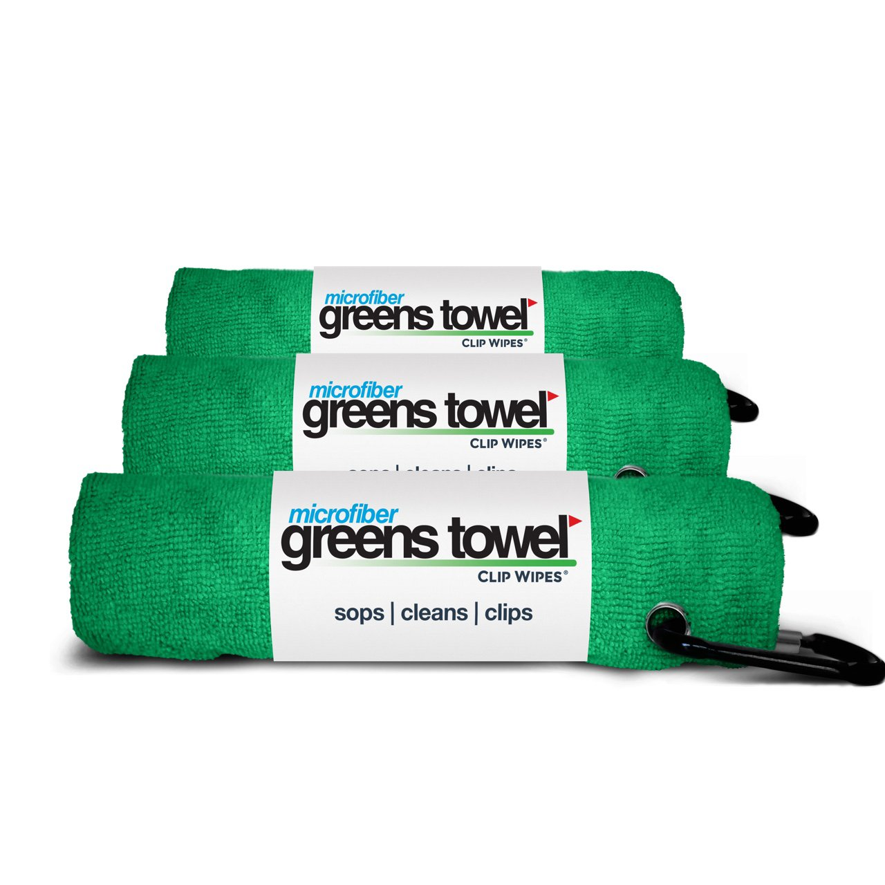 3 Pack of Shamrock Green Microfiber Golf Towels by Greens Towel