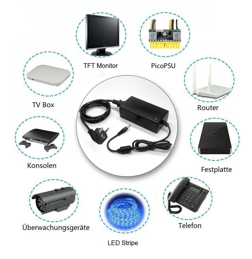 adattatore e trasformatore per strisce LED fax stampanti giochi; spina UE scanner router Caricatore universale da 24V 6A AC//DC radio fotocamera Aveylum monitor TFT LCD festoni di luci