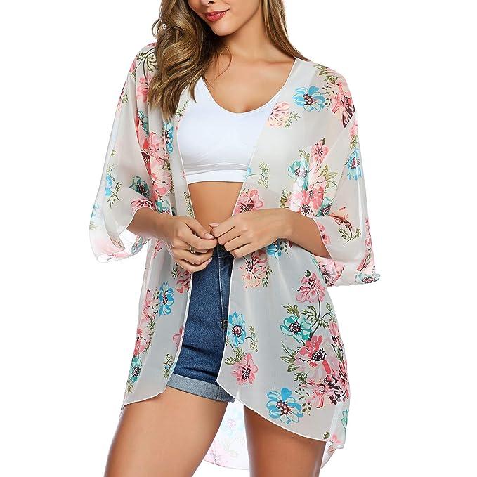 Amazon.com: EyonMe - Kimono de playa con estampado floral ...