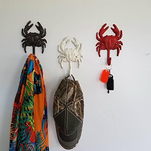 MIDWEST-CBK Crab Wall Hooks Set of 3 Painted Distressed Cast Iron