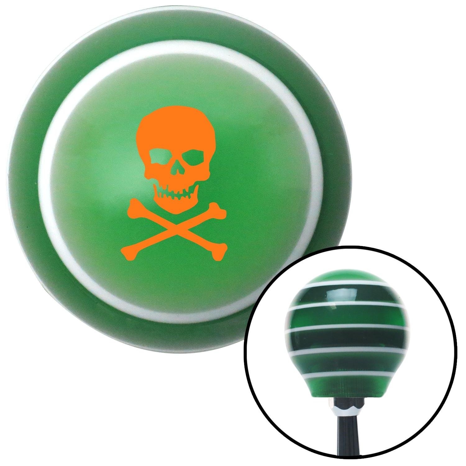 Orange Skull /& Bones American Shifter 127821 Green Stripe Shift Knob with M16 x 1.5 Insert
