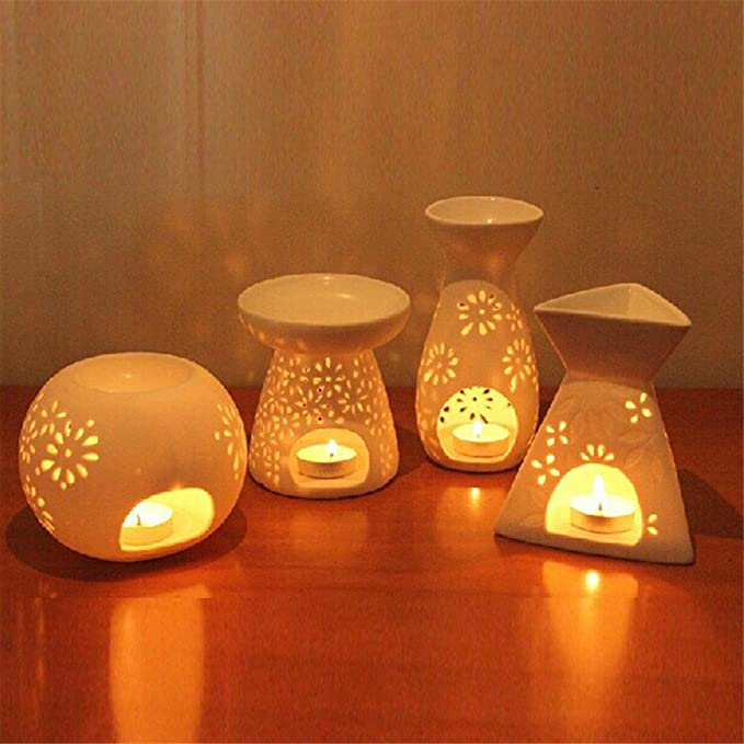 HEALLILY Ceramic Tealight Candle Holder Essential Oil Burner Flower Table Decoration Aromatherapy Wax Candle Tart Burner Aroma Diffuser White