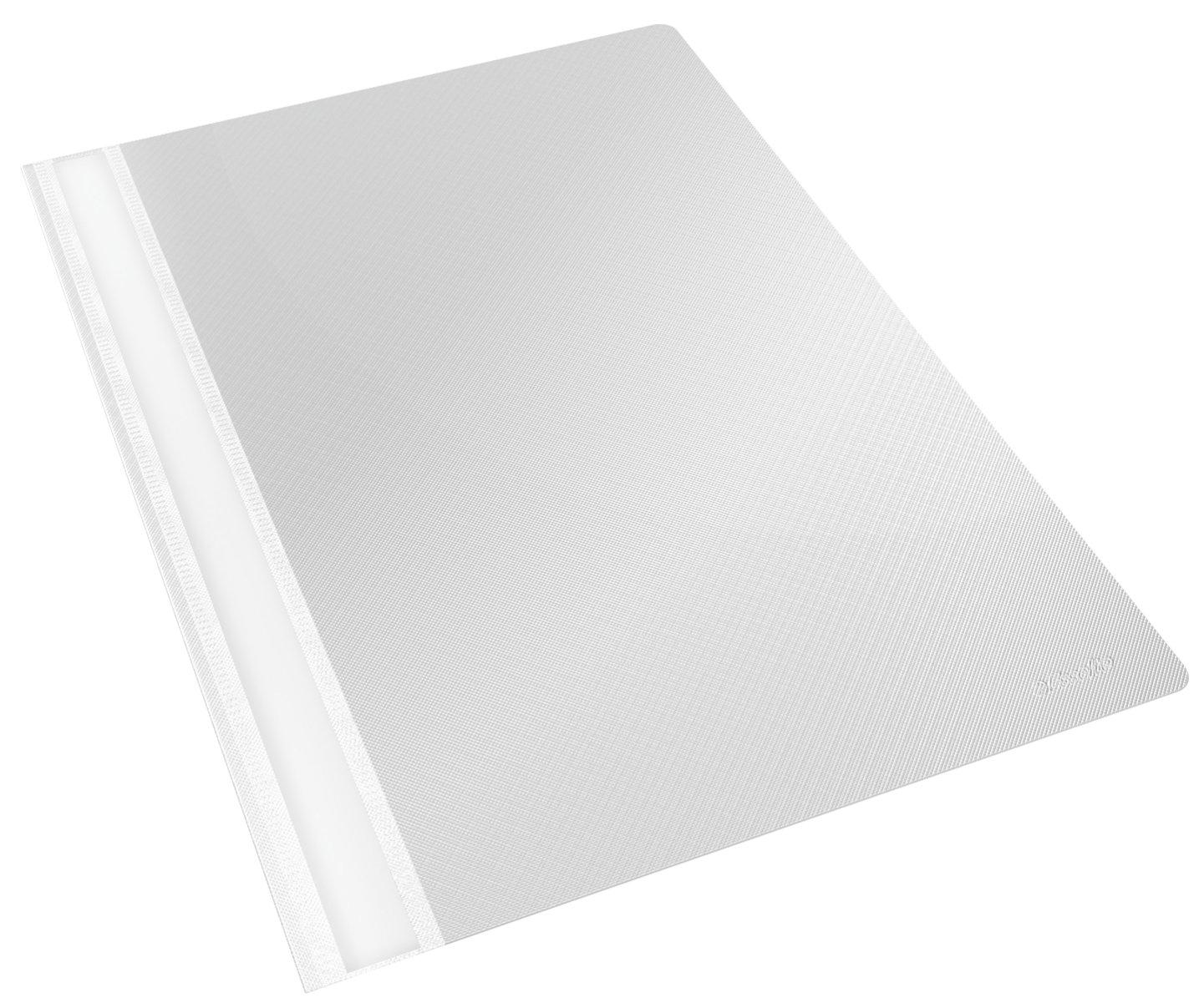 Esselte - Portadocumenti in polipropilene con fermacarte, formato A4 piatto, confezione da 25, colore: Nero 15388