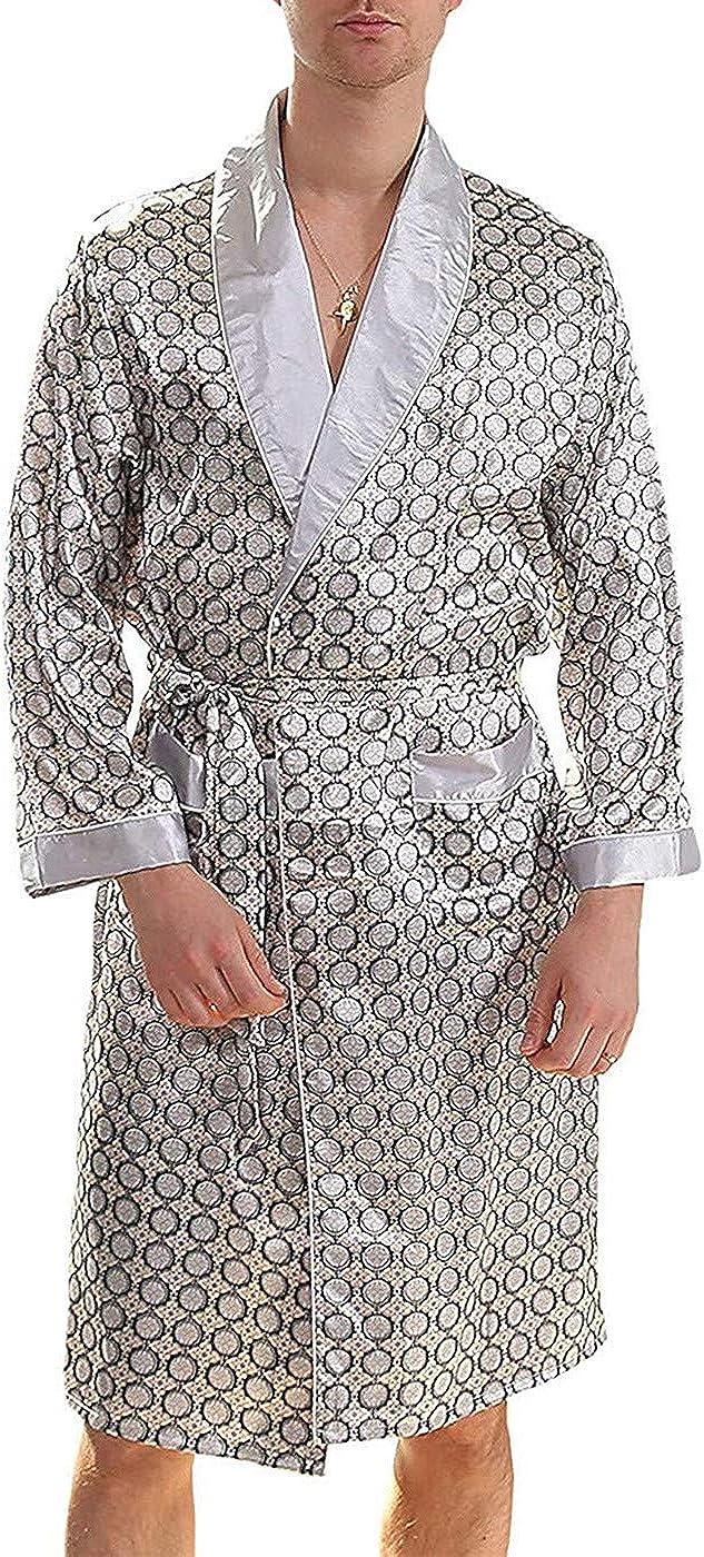 Borje Men's Satin Robe Luxurious Silk Spa Long Sleeve Printed Kimono Bathrobe Lightweight Sleepwear