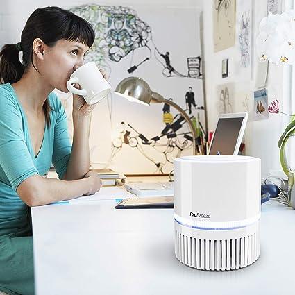 Pro Breeze Purificador de Aire Mini con Auténtico Filtro HEPA e Ionizador - Limpiador de Aire Personal de Escritorio con Luz Nocturna - para Hogar, Trabajo, Oficinas   USB y Alimentación Principal: