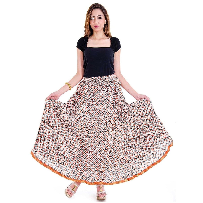 Ethnic Girls Designer Lace Orange Cotton Skirt