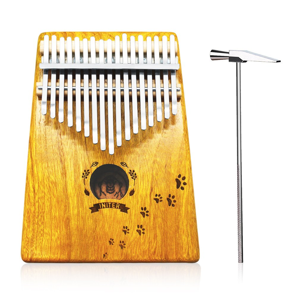 Kalimba Thumb Piano 17 Key,Portable Finger Piano/Mbira/Sanza Kit for Kids and Adults, Solid Solid KOA With Key Locking System,Tune Hammer,Study Instruction,Cloth Bag,Study Guide Sticke INITER