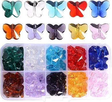 LONGWIN クリスタルバタフライビーズ 100個 14mm マルチカラーガラスビーズ ジュエリー製作用 シャンデリアパーツ