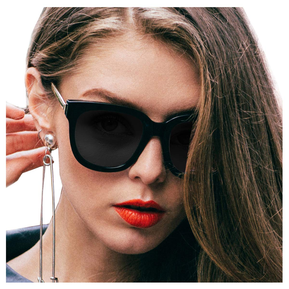 SIPHEW Sunglasses Women, Retro Oversized Frame with 100% UVA/UVB Protection, Anti Glare, Anti Reflective and Polarised Lenses