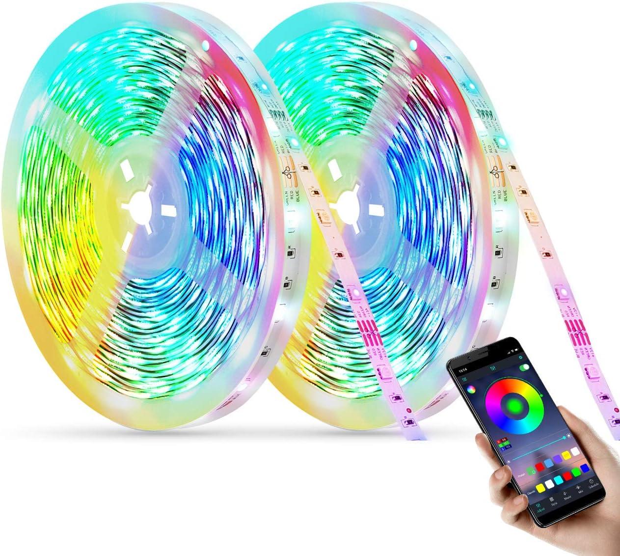Tira Led Bluetooth 12M,Luces Led,Luces Led Iluminacion,Multicolor Control Remoto Tira Led RGB,Leds Habitacion para TV, Monitor Coche Pasillo,Fiesta
