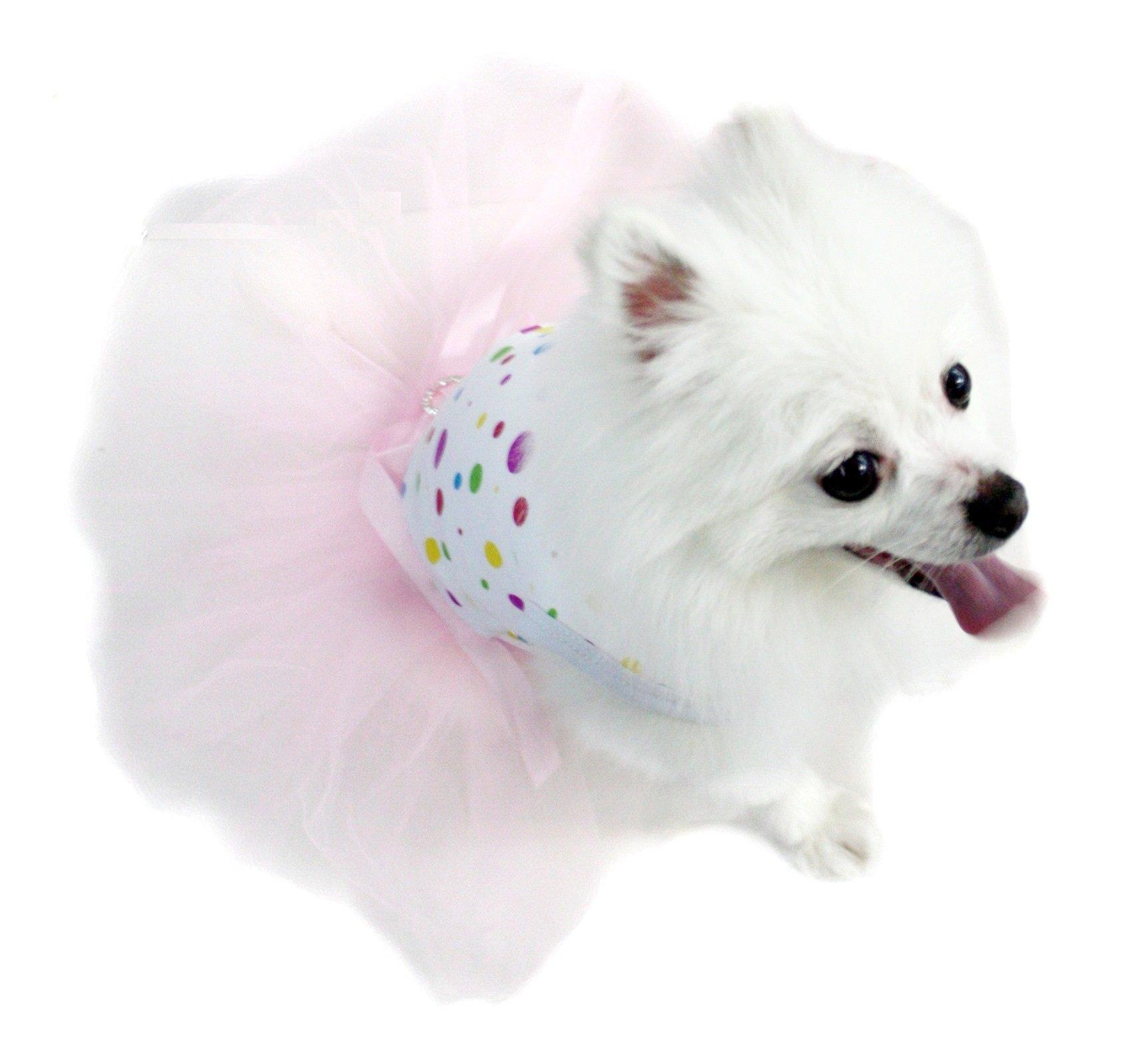Puppy Clothes Dog Dress Rainbow Polka Dot Cotton Top Light Pink Tutu Animal Wear (Medium)