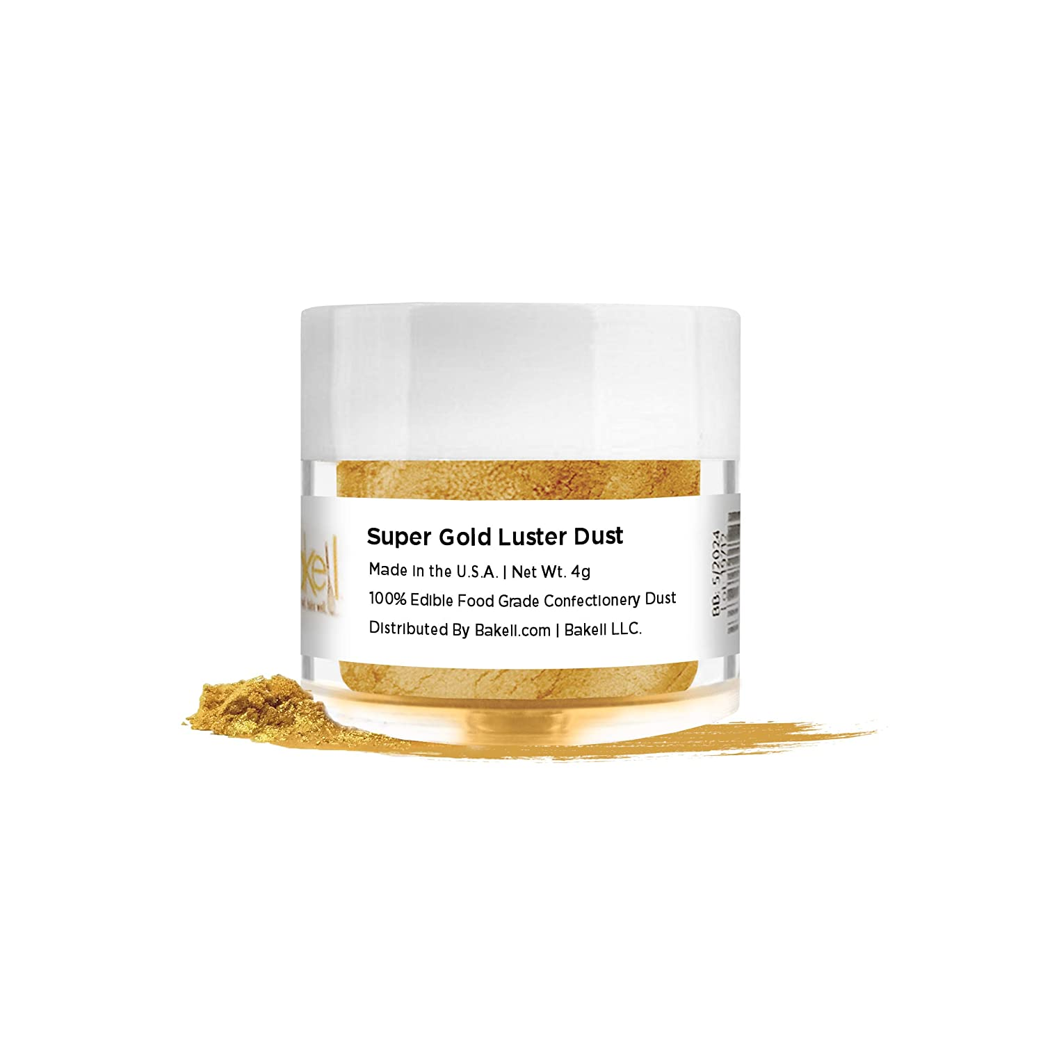 BAKELL Super Intense Gold Edible Luster Dust & Paint, 4 Gram | LUSTER DUST Edible Powder | KOSHER Certified Paint, Powder & Dust | 100% Edible & Food Grade| Cakes, Cupcakes, Drinks Vegan Paint & Dust