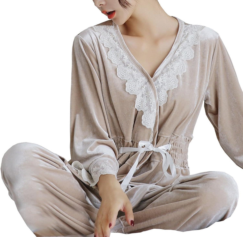 Foucome Women s 2 Pieces Winter Lace Splice Velvet Luxurious Sleepwear  Pajama Set Long Sleeve Nightgown at Amazon Women s Clothing store  b7756255c
