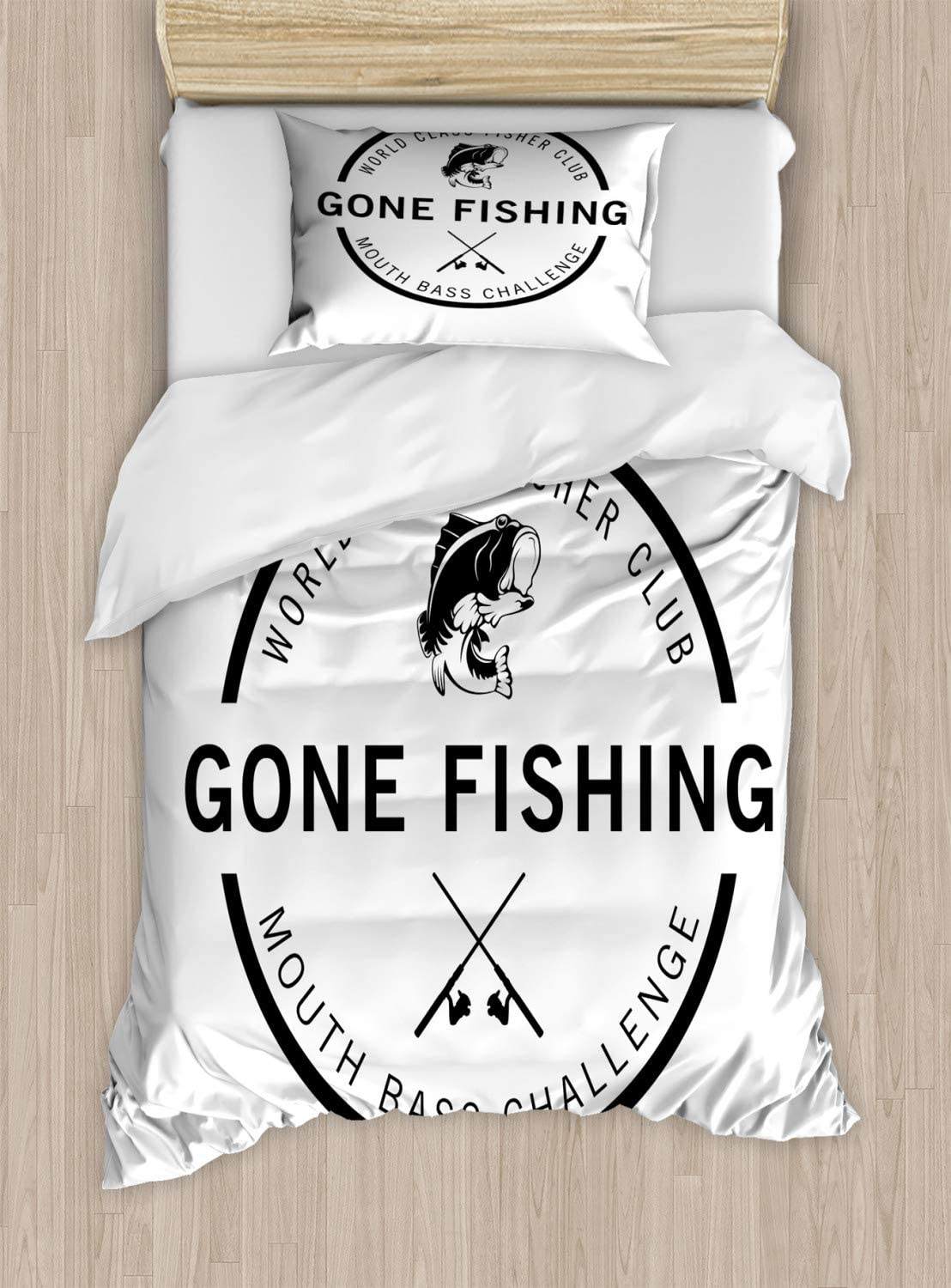 B07PXMHBYB Ambesonne Gone Fishing Duvet Cover Set, Hobby Emblem Like Design World Class Fisher Club Mouth Bass Challenge, Decorative 2 Piece Bedding Set with 1 Pillow Sham, Twin Size, Charcoal Grey White 71PZZt0YyZL.SL1500_