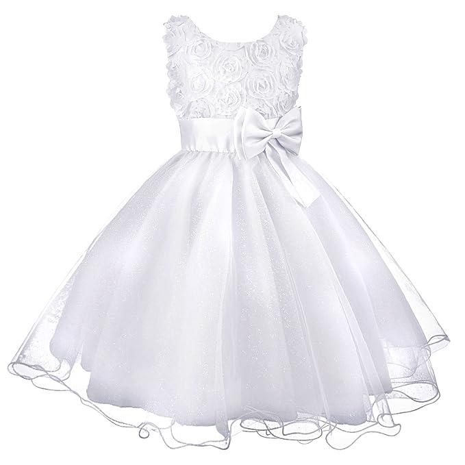 Discoball Niñas Flores Formal Boda Fiesta de Dama Vestido para Bebé Niños Ropa Niñas Vestido de