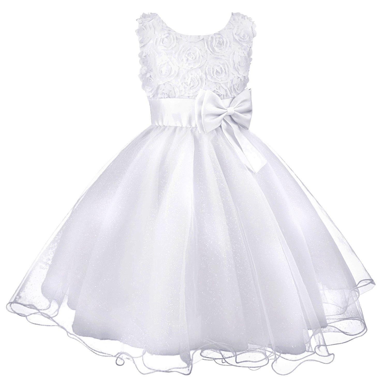 Discoball Muchachas de flor de boda formal de ropa de dama de fiesta de bautismo de