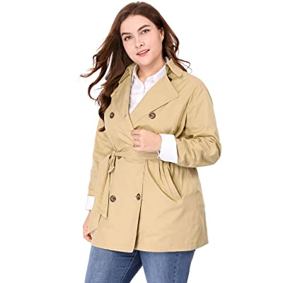 Agnes Orinda Women's Plus Size Double-Breasted Belted Spring Trench Coat