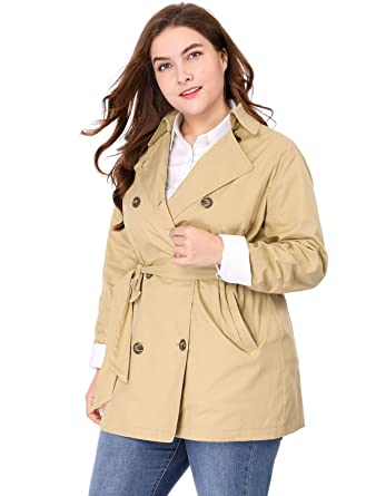 3a930788a4892 Agnes Orinda Women s Plus Size Double-Breasted Belted Trench Coat 1X Khaki