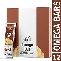 ahead® OMEGA BAR 12er Box Energieriegel mit DHA Omega-3 für die Gehirnleistung¹ – Proteinriegel mit Hafer und Whey-Protein für Alltagshelden und Athleten – Chocolate Peanut, 12er Pack (12x50g)