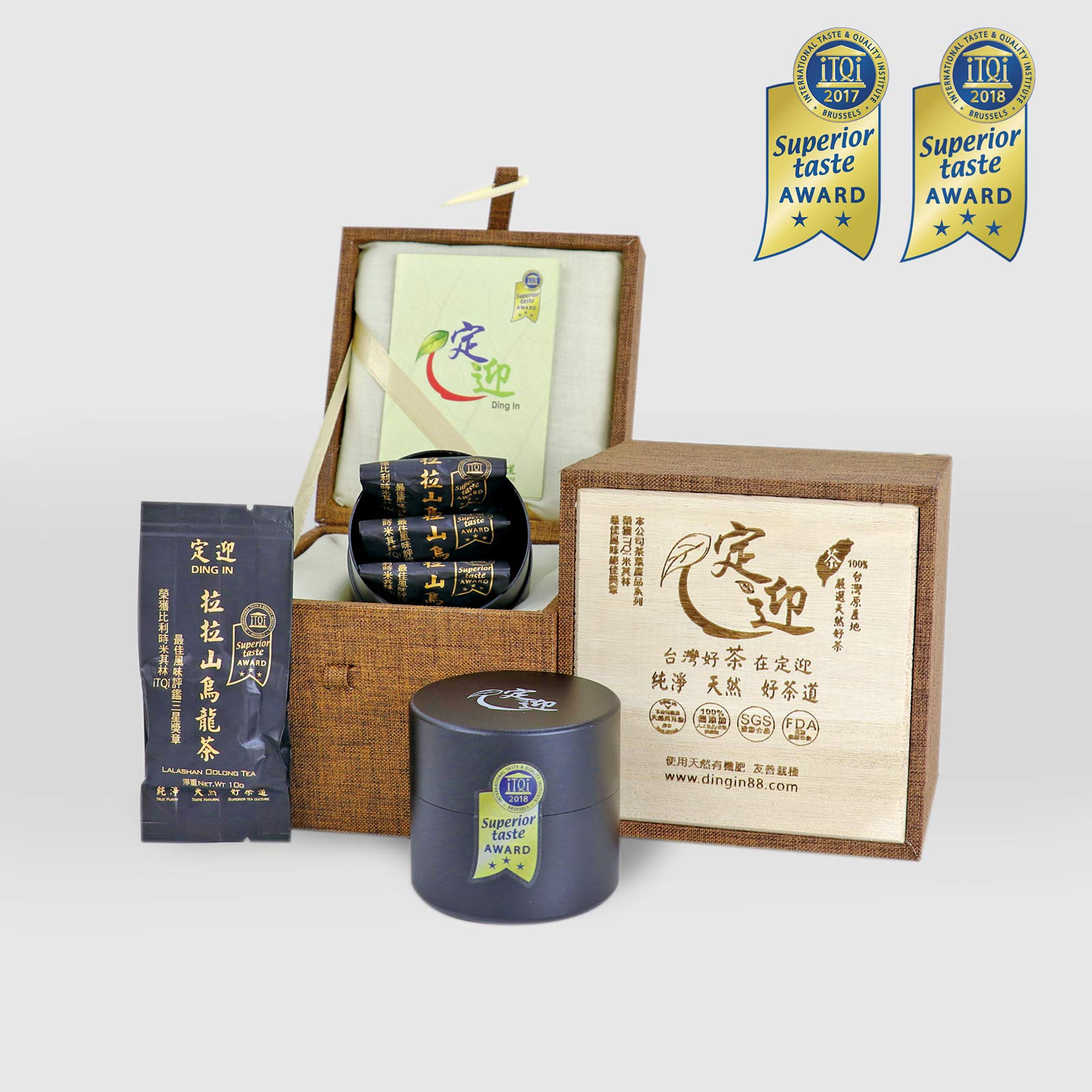 DING IN Lalashan Oolong Tea Horn buckle wooden box 10g3bag/can X2 by Ding In ltd. (Image #1)