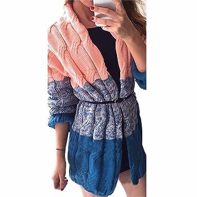 QIYUN.Z Frauen Steigungen Kontrast Farbe Stricken Pullover Mantel Medium  Cardigan Lose  Amazon.de  Bekleidung ee937dcf0b