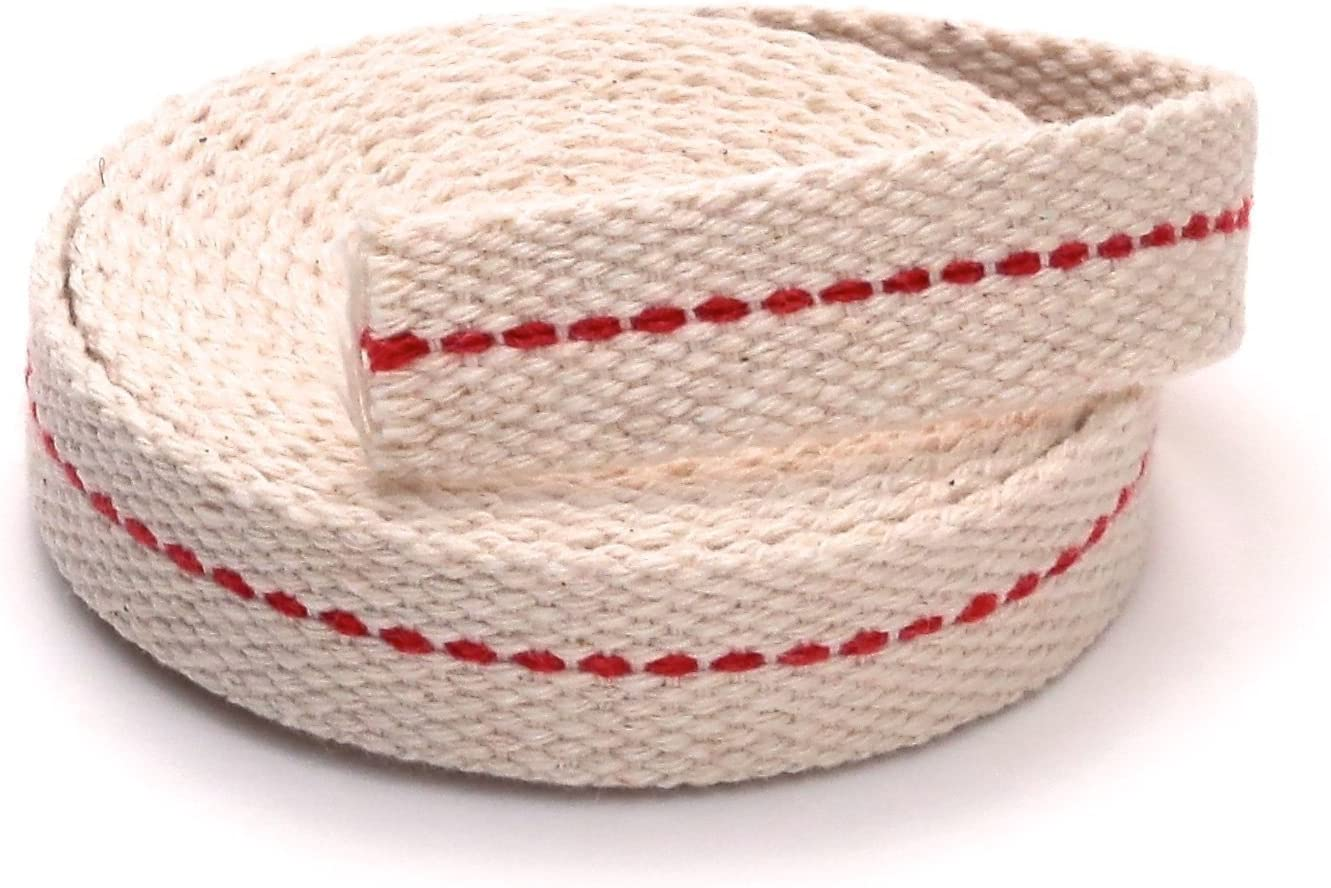 """Light Of Mine 5/8"""" Inch 100% Cotton Flat Wick 6 Foot Roll for Paraffin Oil or Kerosene based Lanterns and Oil Lamps with Genuine Red Stitch Superior Quality (5/8"""")"""