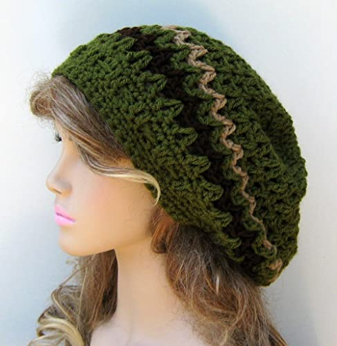 69611a70a9145 Image Unavailable. Image not available for. Color  Handmade olive slouchy  beanie