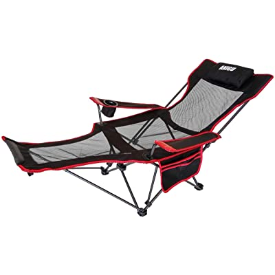 Anigu Mesh Lounge Reclining Folding Camp Chair with Footrest (Black) : Sports & Outdoors