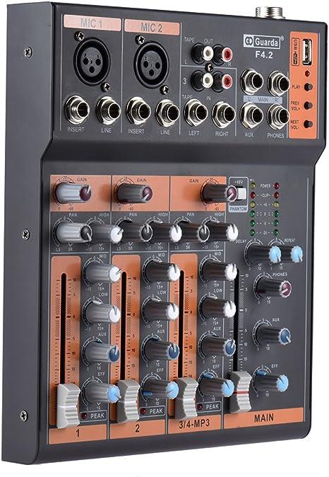 ammoon Portátil 4 Canales Línea Mic Mezclador de Audio Mesa de ...