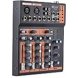 ammoon Portátil 4 Canales Línea Mic Mezclador de Audio Mesa de Mezclas Ecualizador de 3 Bandas Interfaz USB 48V Phantom Power con Adaptador de Energía