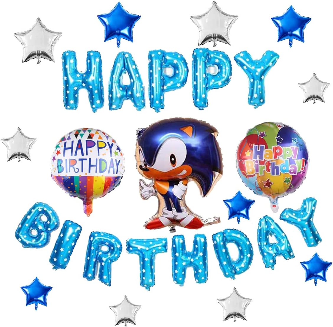 Amazon Com Sonic Birthday Party Supplies Set Happy Birthday Foil Mylar Balloon For Sonic The Hedgehog Theme Kids Birthday Party Decoration Toys Games