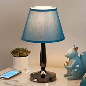 Touch Control Table Lamp with USB Ports, Turqiouse Blue Touch Bedside Lamp with 2 USB Charging Ports, 3 Way Dimmable Desk Lamp Nightstand Lamp for Bedroom, Living Room and Office (LED Bulb Included)