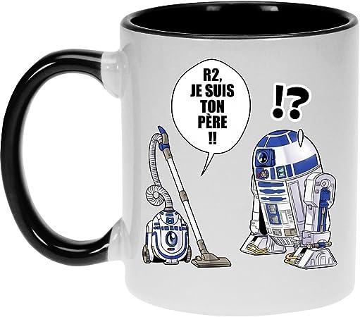 Super Deformed Parodie Star Wars Okiwoki Mug Noir Star Wars parodique R2-D2 : R2 Je suis Ton p/ère