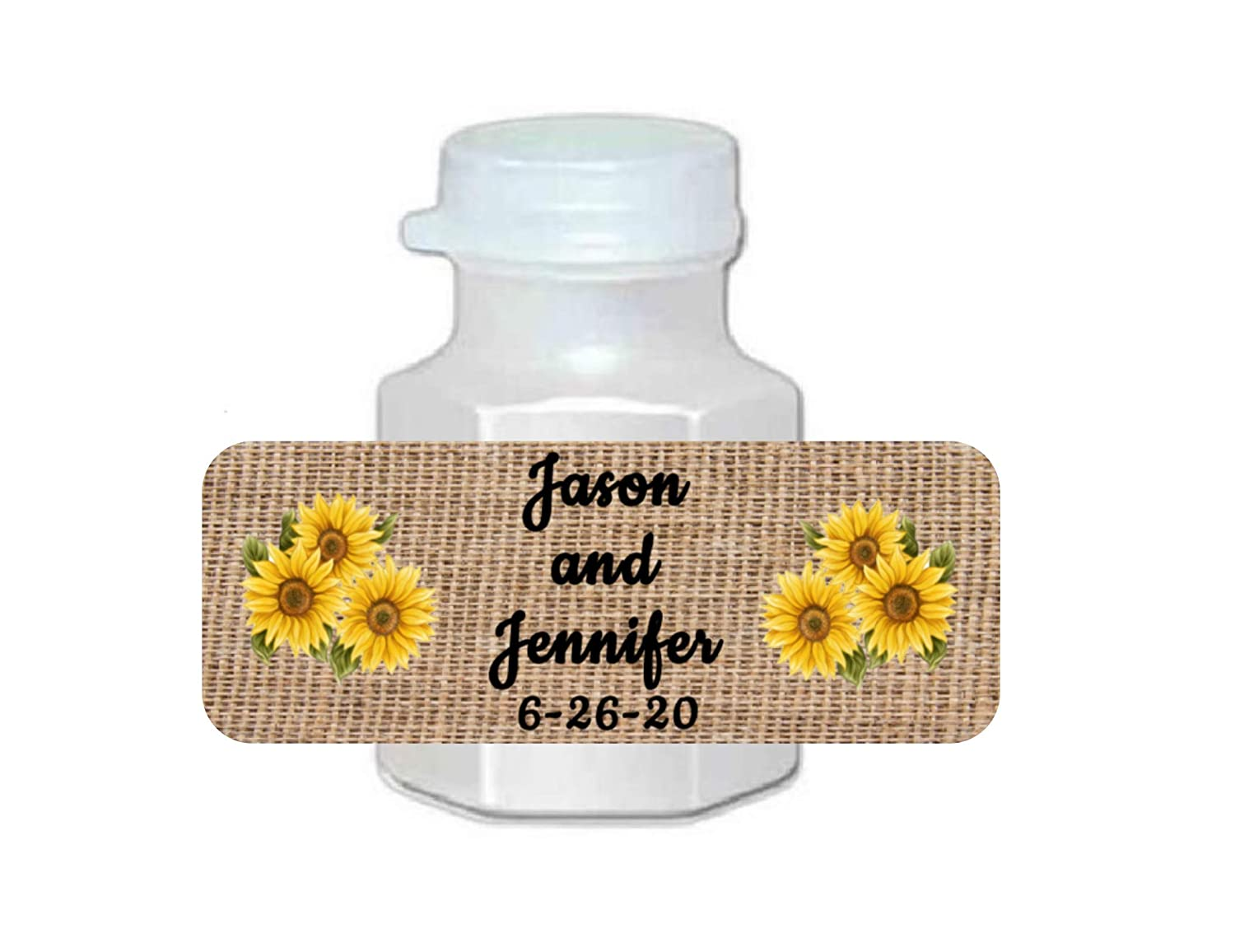 wedding favors 30 wedding bubble labels sunflower burlap personalized
