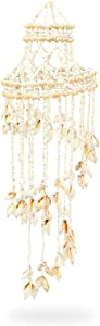 Okuna Outpost Seashell Wind Chimes for Beach Home Decor (7.8 x 7.8 x 27 in)