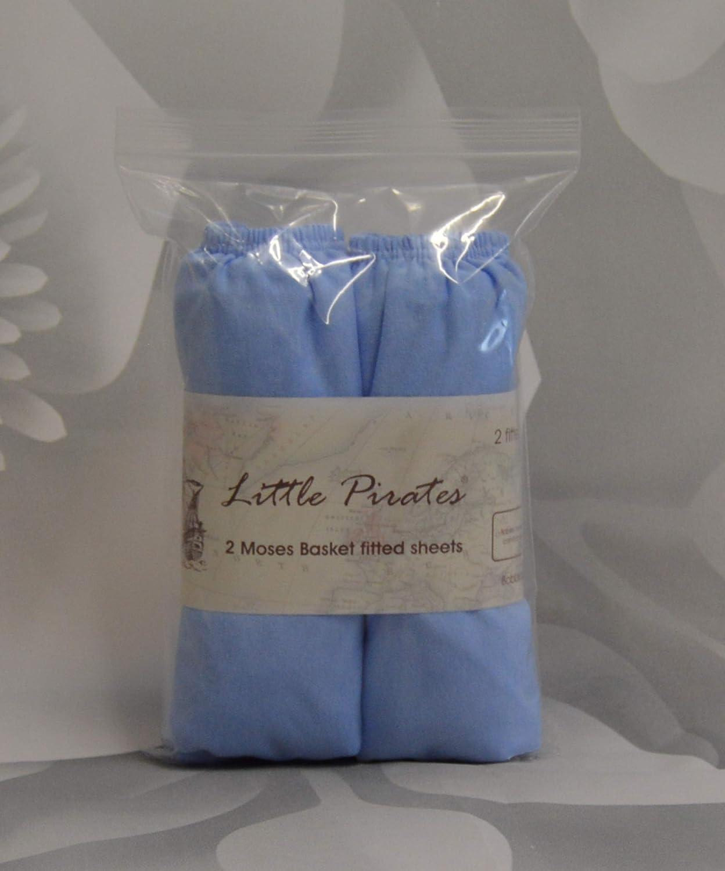Blau 100//% Baumwolle 2/St/ück 30/x/75/cm Jerseystoff Little Pirates Spannbetttuch f/ür Babybett