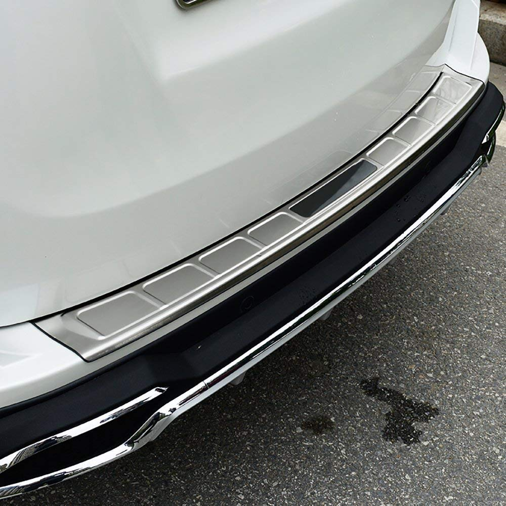 BeHave hh914w Car Rear Bumper Guard, Stainless Steel Interior Rear Door Sill Protector Cover, 1 Pcs Trunk Rear Bumper Protector Frame For Toyota RAV4(With Logo)