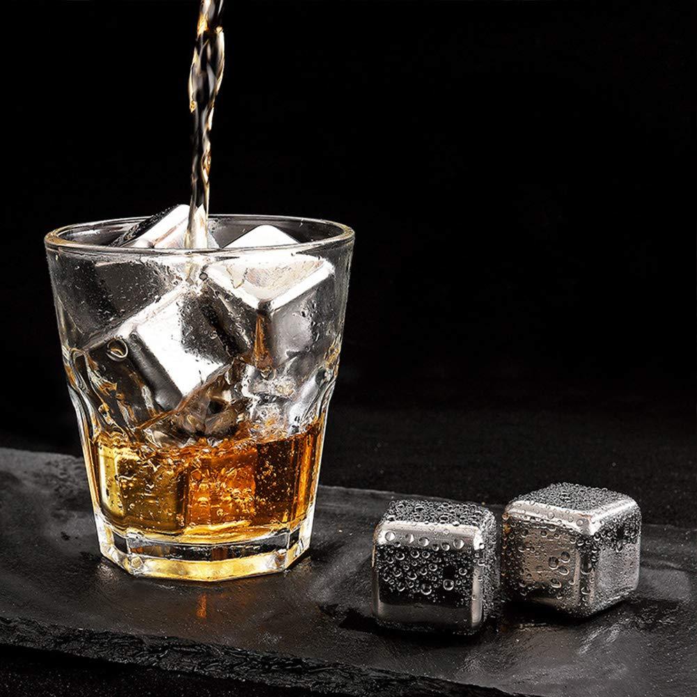 You/&Lemon 8 Piezas de Cubitos de Hielo de Acero Inoxidable Piedras de Whisky Reutilizables para C/ócteles Cerveza de Vodka con Pinza
