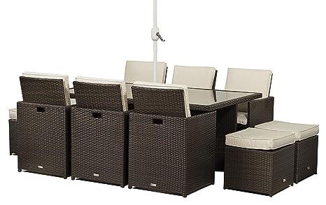 Milano tavolo in vetro mobili da giardino in rattan cubo set 6 sedie ...