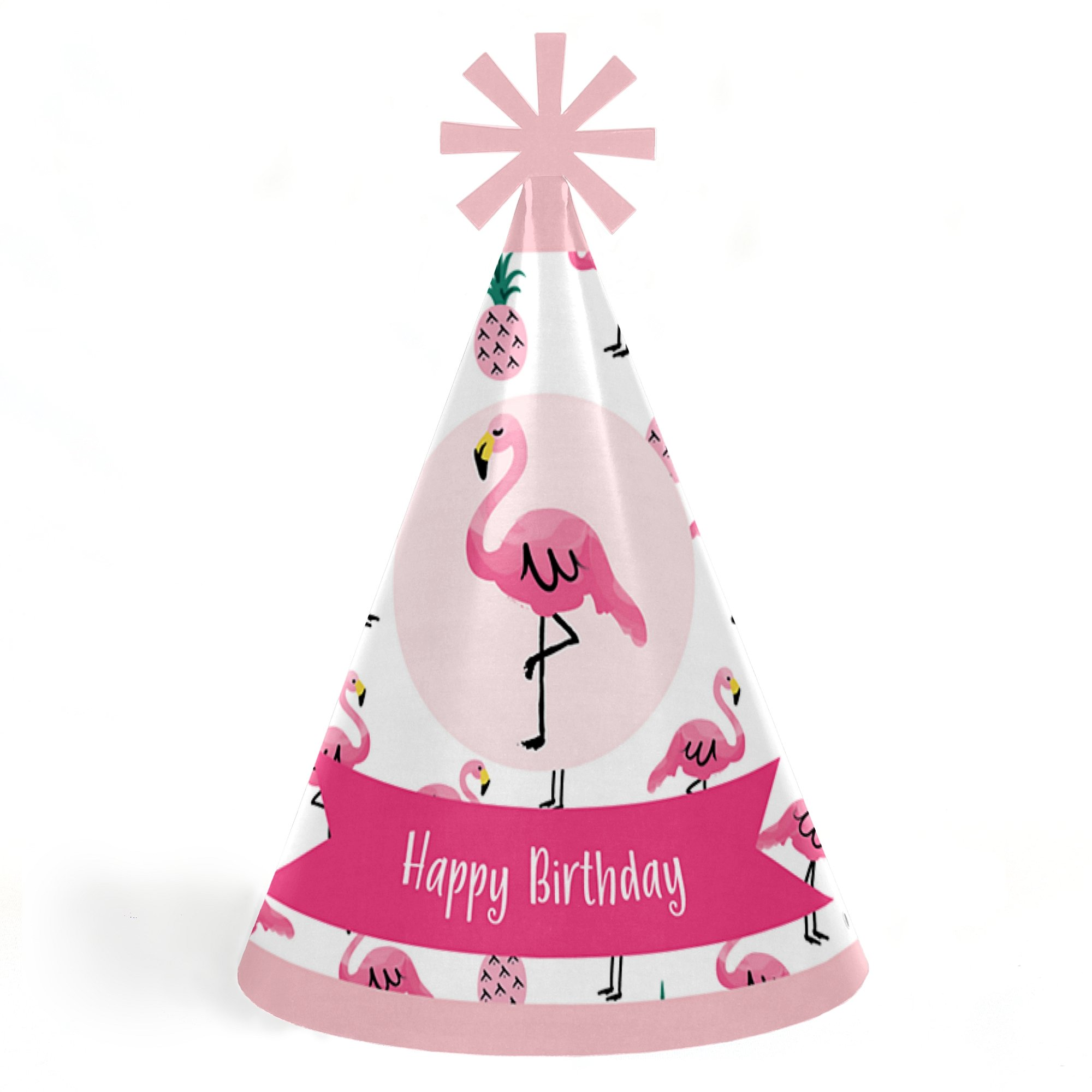 Pink Flamingo - Party Like a Pineapple - Tropical Summer Cone Happy Birthday Party Hats for Kids and Adults - Set of 8 (Standard Size)