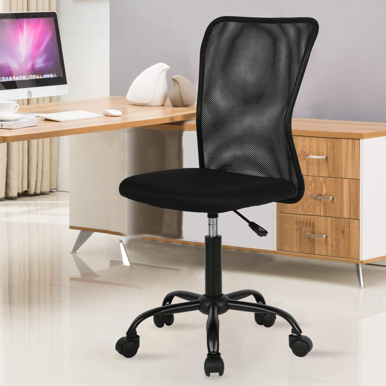 Amazon Com Mesh Office Chair With Lumbar Support Ergonomic Desk Chair Back Support Mesh Computer Chair No Arms Adjustable Height Task Rolling Swivel Chair For Women Men Modern Chair Black Kitchen Dining